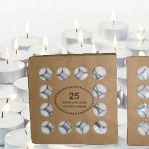 CT25 : 25 x unscented 9 hour tealight in cardboard box