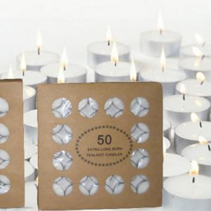 CT50 : 50 x unscented 5 hour tealight in cardboard box