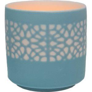 cv04a-bu : Lana ceramic votive - eclectic flower - blue