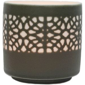 cv04a-g : Lana ceramic votive - eclectic flower - grey **SOLDOUT / DISCONTINUED**