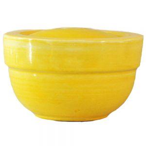 large round ceramic firepot - yellow