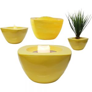 FlamcL8: Large square ceramic planter pot / candle holder - yellow
