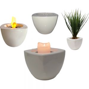 FPC1w : Square ceramic candle holder / planter - white