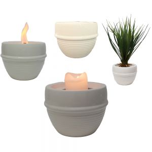 FPC2w : Ribbed round ceramic candle holder / planter - white