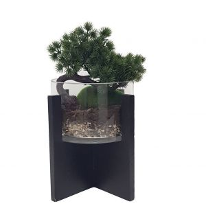 GA170-10 : Vita wooden base glass vase planter - small  **SOLDOUT**