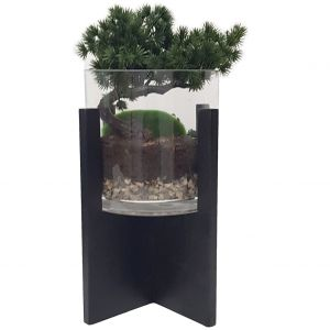 GA170-15 : Vita wooden base glass vase planter - Medium