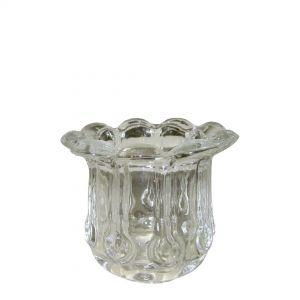 gcc01cL : Vintage glass flower edge rnd votive - clear