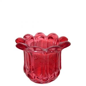 Vintage glass flower edge rnd votive - red (NOT DISHWASHER SAFE)