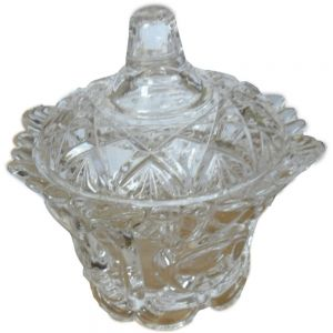 Vintage glass small flared lip jar - clear (NOT DISHWASHER SAFE)