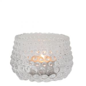 GCC77010cL : Vikki mini glass votive w/bubble embossed - clear