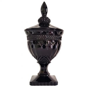 gcc083L-BK1 : Buckingham crystal glass jar - Large : Gloss Black  **AVAILABLE 10TH DECEMBER 2020**