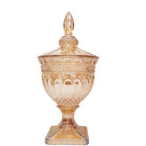 gcc083L-GO : Buckingham crystal glass jar - Large (Lazer Color: Gold) **AVAIL AUGUST 2020**