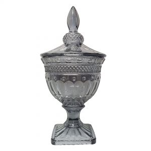 gcc083L-GY : Buckingham crystal glass jar - Large (Lazer Color: Smoky Grey)