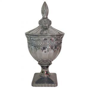 gcc083L-GY : Buckingham crystal glass jar - Large:  Opaque Smoky Grey