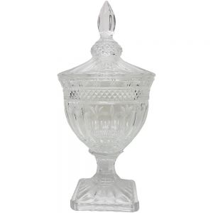 gcc083L : Buckingham crystal glass jar - Large  **AVAIL EARLY AUGUST 2020**