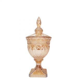 gcc083S-GO : Buckingham crystal glass jar - Small (Lazer Color: Gold) **AVAIL AUGUST 2020**