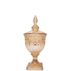 gcc083S-GO : Buckingham crystal glass jar - Small (Lazer Color: Gold)