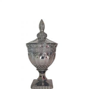 gcc083S-GY : Buckingham crystal glass jar - Small (Lazer Color: Smoky Grey) **AVAIL AUGUST 2020**