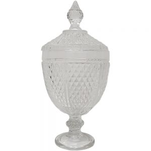 gcc084a : Diana diamond embossed glass jar **DISCONTINUED**