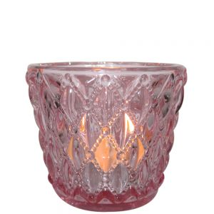 gcc10p : Vintage glass v-shaped votive- pink (NOT DISHWASHER SAFE) **SOLDOUT**