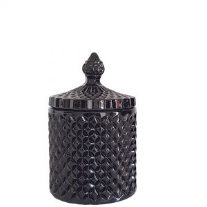gcc16-bk1 : Regina Vintage jar - Gloss Black (NOT DISHWASHER SAFE)