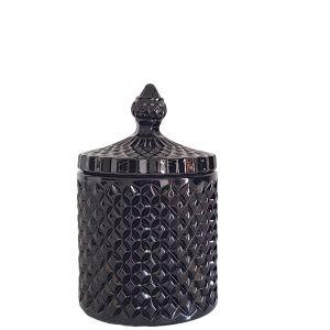 gcc16-bk1 : Regina Vintage jar - Gloss Black (NOT DISHWASHER SAFE)