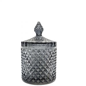 gcc16-gy : Regina Vintage jar - (laser color) Smoky Grey (NOT DISHWASHER SAFE)