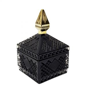 Minx royal glass jar - black w/gold tip (NOT DISHWASHER SAFE)