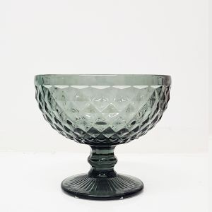 GCC215-GY : Diana embossed sundae footed glass bowl -  GREY / BLUE