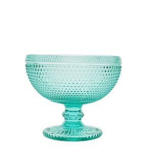 GCC215-T : Kate embossed sundae footed glass bowl -  TEAL  **AVAILABLE END SEPT 2019 **