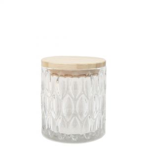 Harrod embossed canister w/wooden lid - clear