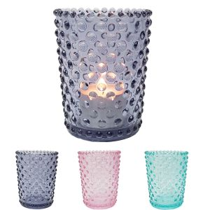 GCC7595 : Vikki tall tapered glass votive w/bubble embossed  (NOT DISHWASHER SAFE)