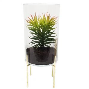 gch3130M-G : Ayita cylindrical glass hurricane/ atrium on footed stand - Medium
