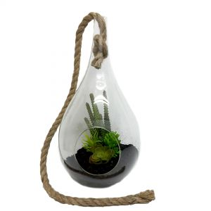 Tatum teardrop glass vase w/rope handle - L