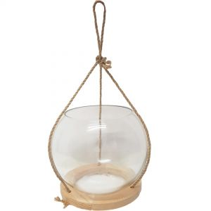 gt451 : Jakob wooden hanging fish bowl glass vase planter