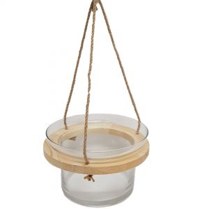 gt461 : Sven wooden hanging glass  vase planter