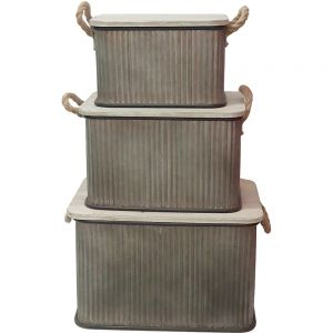 HC126 : Eton square storage container w/wooden lid - set/3
