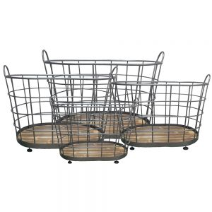 HC131 : set/4 French Industrial metal wired storage baskets **AVAILABLE END MAY**