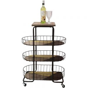 Jasper 3-tier oval wooden top basket display trolley w/ wheels
