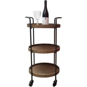 Jasper 3-tier round wooden serving trolley w/ wheels