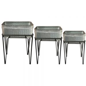 Franz set/3 removable metal rectangular storage trays / buckets