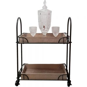 Jasper 2 tier rectangular wooden top display shelf trolley w/wheels