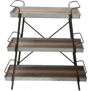 HC248 : Parker 3 tier rustic metal rectangle storage display shelf w/ wooden timber top