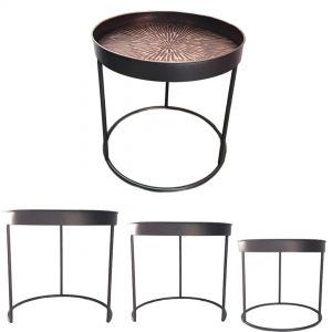 HC327 : Aztec industrial metal Set/3 side table - black & gold  **AVAIL MID SEPTEMBER**