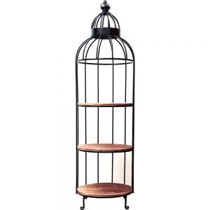 Leo Birdcage w/ 3 tier display shelf (black)