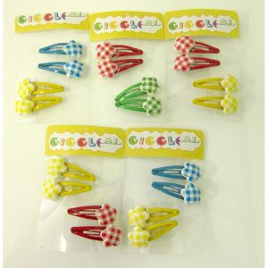 checkered star hair clip set/4