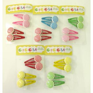 checkered circle hair clip set/4