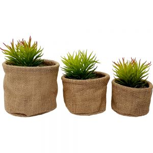 Hessian cylindrical pot - set/3
