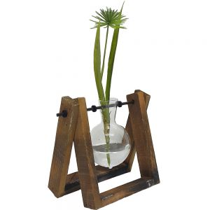 JK057-3 : Propagation station / Wooden holder single vase