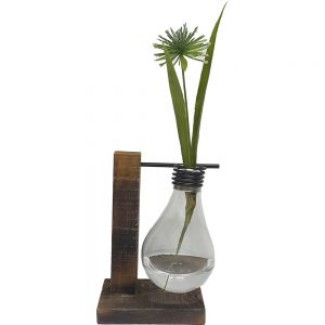 JK37-17 : Wooden holder light bulb vase - single